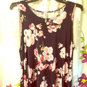 Navy Tank with Pink Flowers